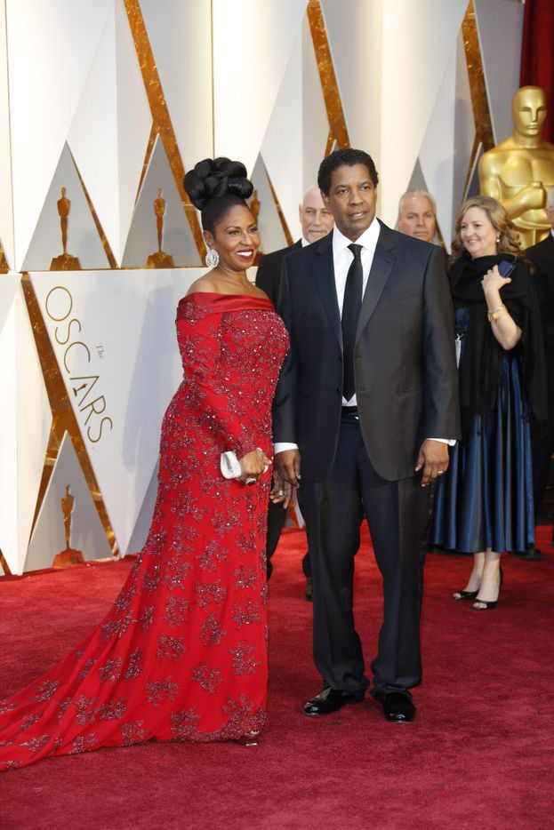 Denzel and Paulette Washington arrive at the 89th Academy Awards on Sunday, Feb. 26, 2017, at the Dolby Theatre at Hollywood & Highland Center in Hollywood. (Jay L. Clendenin/Los Angeles Times/TNS)