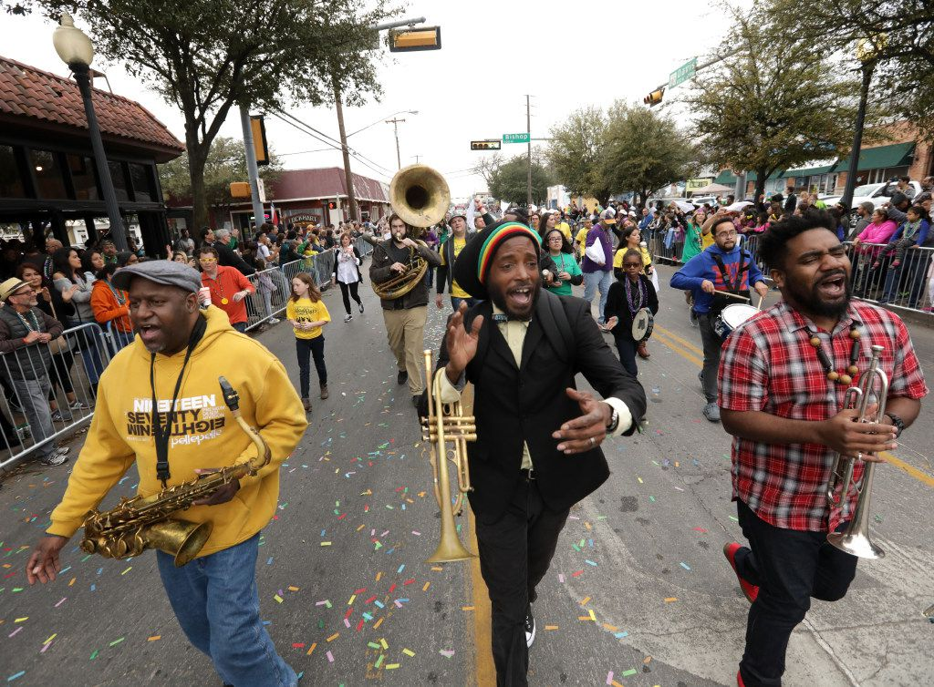 The Big Ass Brass Band performs during the Oak Cliff Mardi Gras parade in 2017.