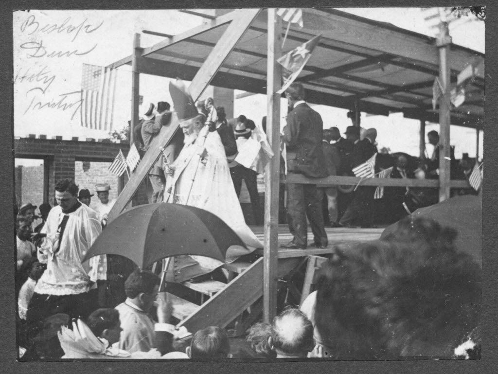 Undated photo of Bishop Edward Dunne at the construction site for Holy Trinity. (EDS Note: not sure if this is Holy Trinity church or college) Photograph courtesy of The Archives of the Diocese of Dallas.