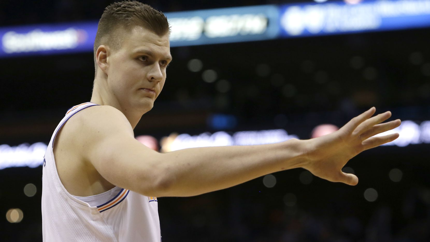 FILE - New York Knicks forward Kristaps Porzingis (6) in the first half during an NBA basketball game against the Phoenix Suns, Friday, Jan. 26, 2018, in Phoenix. (AP Photo/Rick Scuteri)