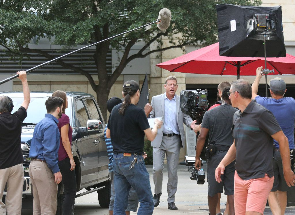 Troy Aikman, this year's campaign chairman for United Way of Metropolitan Dallas, filmed a public service announcement at Victory Tavern on Aug. 7.
