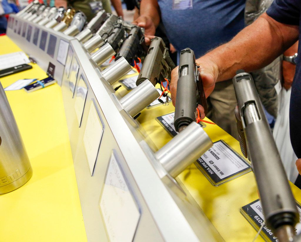 Firearms enthusiasts could try a variety of pistols and rifles on for size at the NRA's expo.