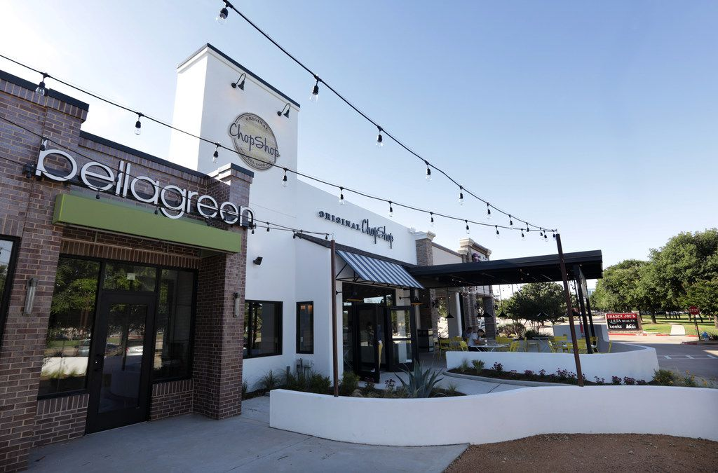 Bellagreen and Original Chop Shop are next-door to one another at Park and Preston in Plano, on the same corner as Trader joe's.