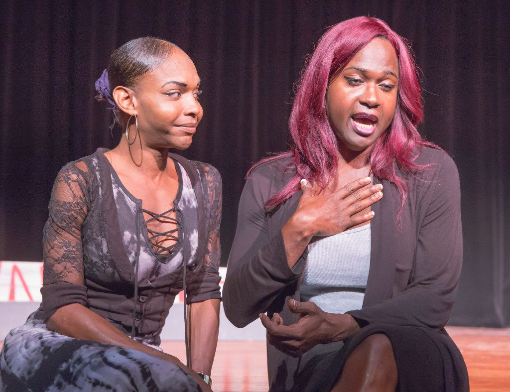 "Mieko Hicks (left) and Shannon Walker talk about being transgender and why they are ""excited and scared"" to perform in ""In the Tall Grass,"" at the Bishop Arts Theatre. Paul Kalburgi's docudrama is about the unsolved 2015 murder of a transgender person in Dallas. (Ron Heflin/Special Contributor)"