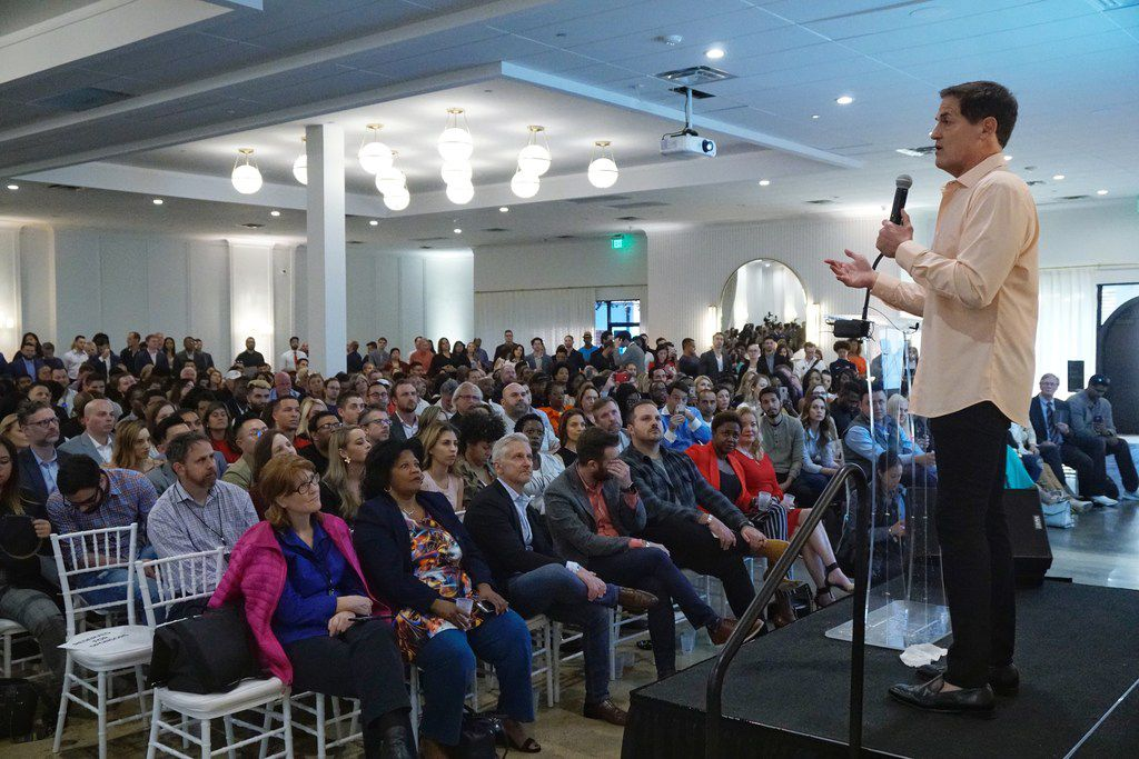 Dallas Mavericks owner Mark Cuban speaks to a packed house at The Hall on Dragon as part of Dallas Startup Week on Tuesday May 2, 2019.