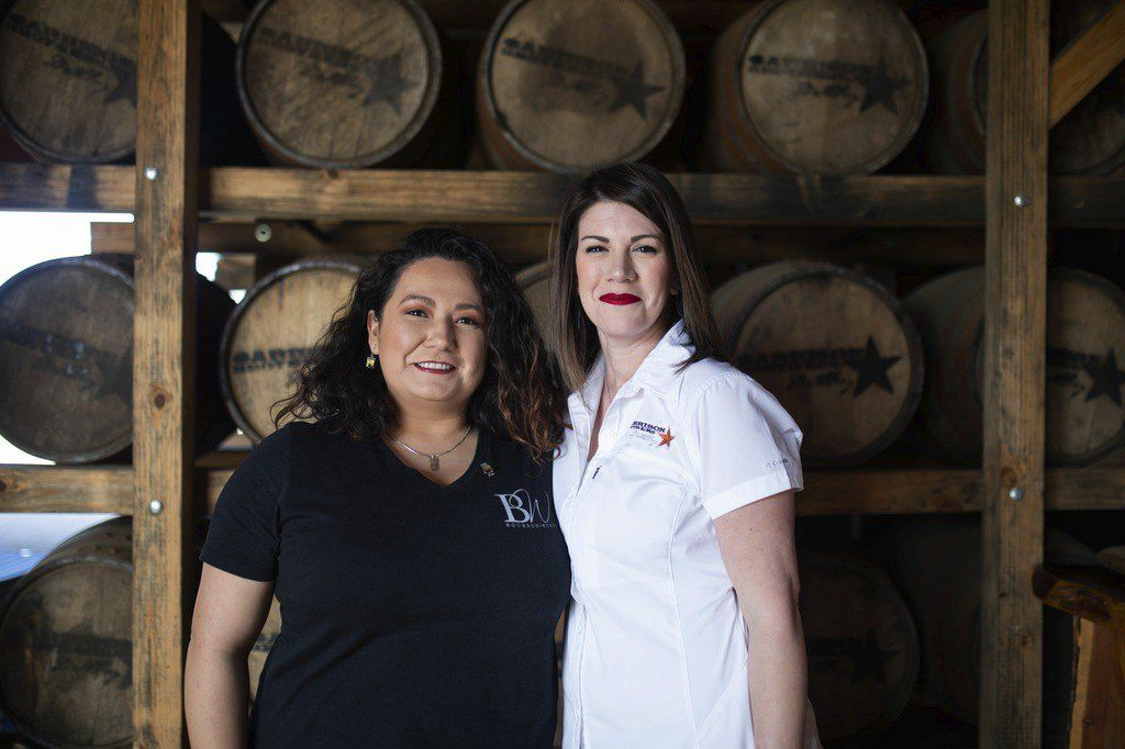 Samantha Olvera (left) and Hope Parkerson (right) both work at Garrison Brothers Distillery and founded the Texas chapter of Bourbon Women Association.