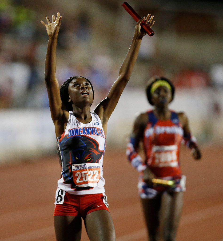Duncanville's Arius Williams celebrates finishing second in the class 6A girls 4x400-meter relay during the UIL state track and field meet in Austin, Saturday, May 13, 2017. (Stephen Spillman/Special Contributor)