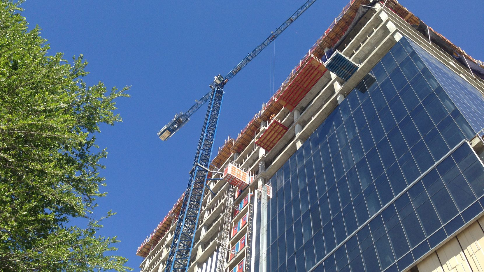 Next week the twin-tower Liberty Mutual campus in West Plano's Legacy West project will be topped out.