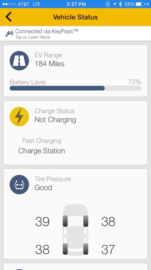 Vehicle status screen in the MyChevrolet app