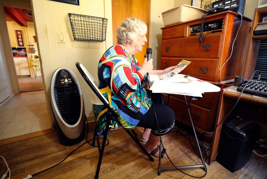 Longtime radio host Magann Rennels reads the news as her son Gilrobert Rennels (not pictured) records the daily program for Channel 6 Muletrain News out of their Muleshoe, Texas home, Wednesday, August 2, 2017. She's been doing this since she was 11-years old for her legendary father and radio host Gill Lamb. She remembers covering Lincoln Riley, the new Oklahoma Sooners new head football coach, when he was the quarterback in the small West Texas town. (Tom Fox/The Dallas Morning News)