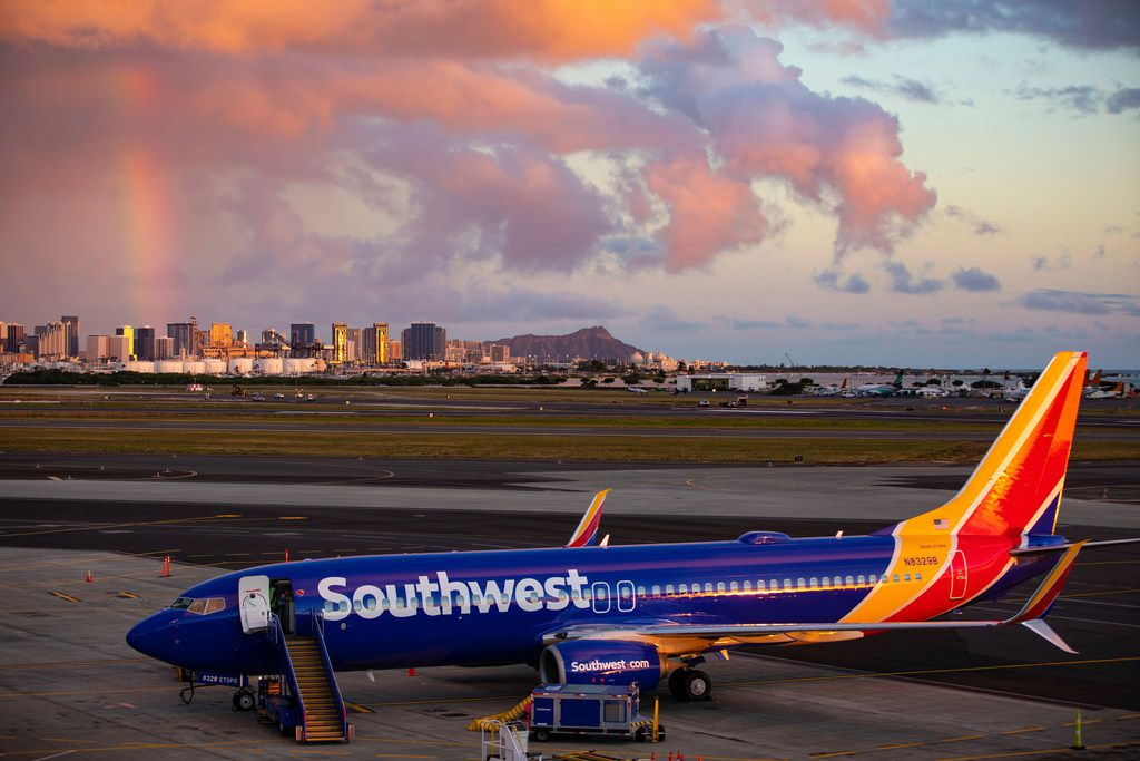 Southwest Airlines' first ever flight to the Hawaiian Islands is shown on Feb. 5, 2019 at Daniel K. Inouye International Airport, in Honolulu, HI. The carrier's first ever touchdown in Hawaii was part of Southwest's authorization process with the FAA to offer future scheduled service to the islands. The plane is a Southwest Boeing 737-800.