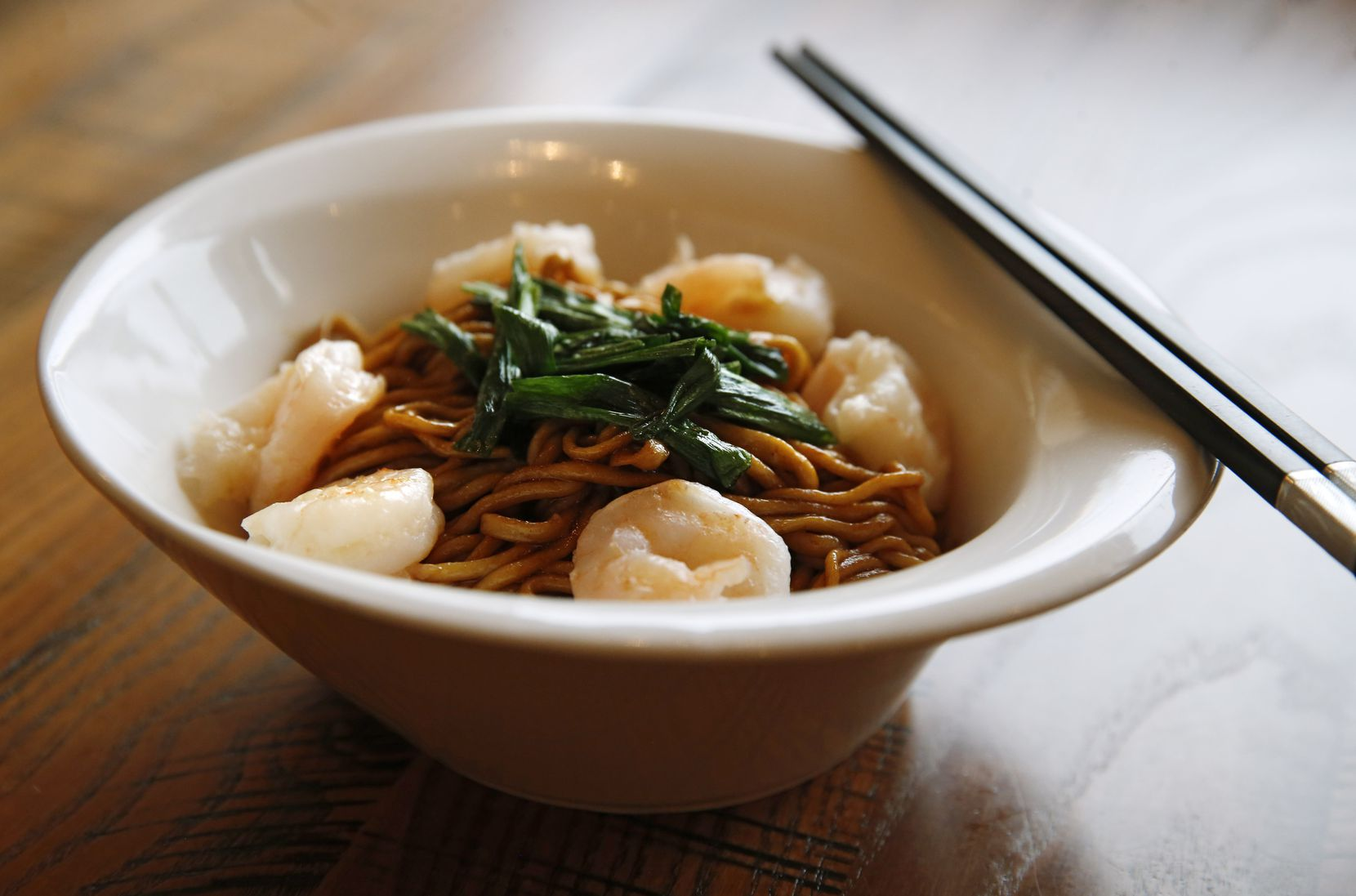 Hand-pulled noodles with shrimp, scallion and soy