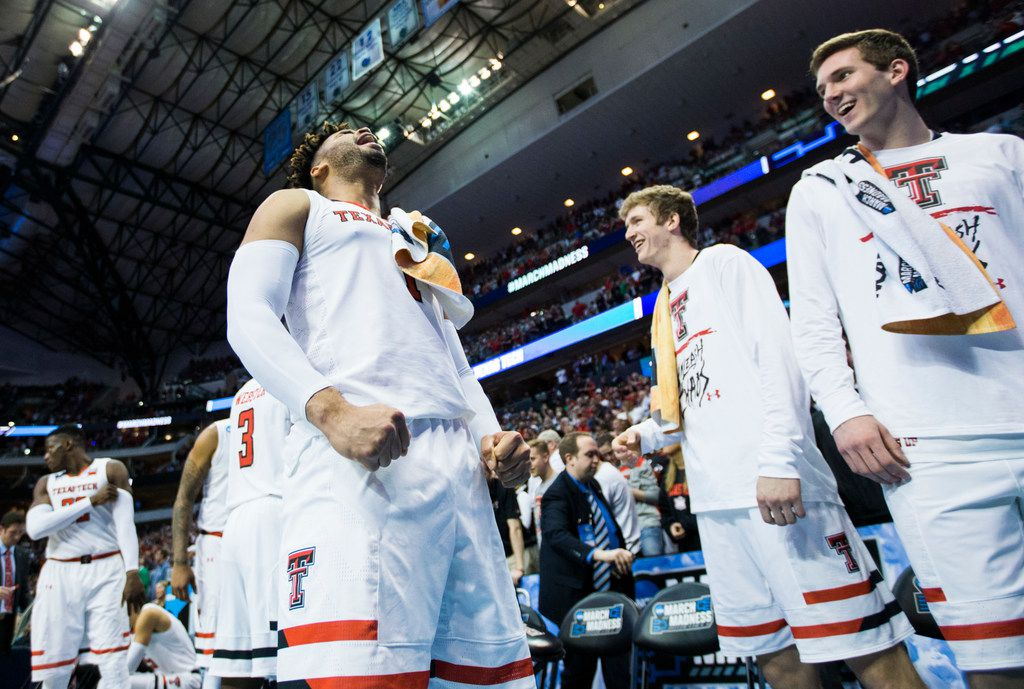 Texas Tech Red Raiders guard Brandone Francis (1) screams in celebration near the end of a second round NCAA men's basketball tournament game between Texas Tech and Florida on Saturday, March 17, 2018 at American Airlines Center in Dallas. Tech won 69-66. (Ashley Landis/The Dallas Morning News)