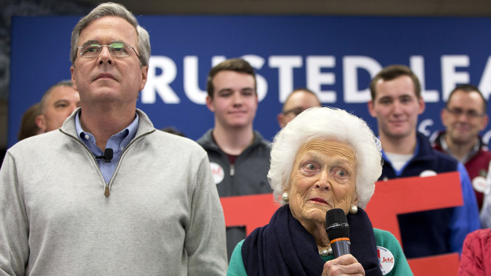 Former Florida Gov. Jeb Bush, left, and mother Barbara Bush, right, speak at a town hall meeting at West Running Brook Middle School in Derry, N.H., Thursday Feb. 4, 2016. (AP Photo/Jacquelyn Martin)