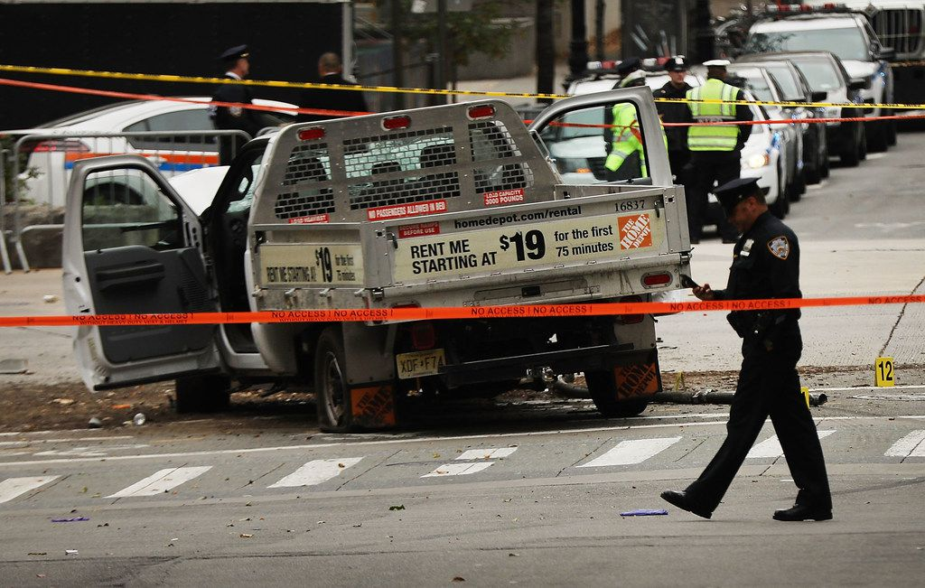 The crashed vehicle used in what is being described as a terrorist attack sits in lower Manhattan on Wednesday, the morning after the attack.
