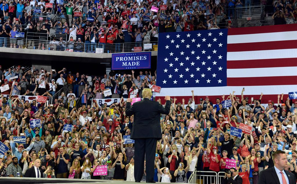 President Donald Trump arrives to speak at a rally at AMSOIL Arena in Duluth, Minn., June 20, 2018, for Pete Stauber, a Republican congressional candidate running in a traditionally Democratic district.