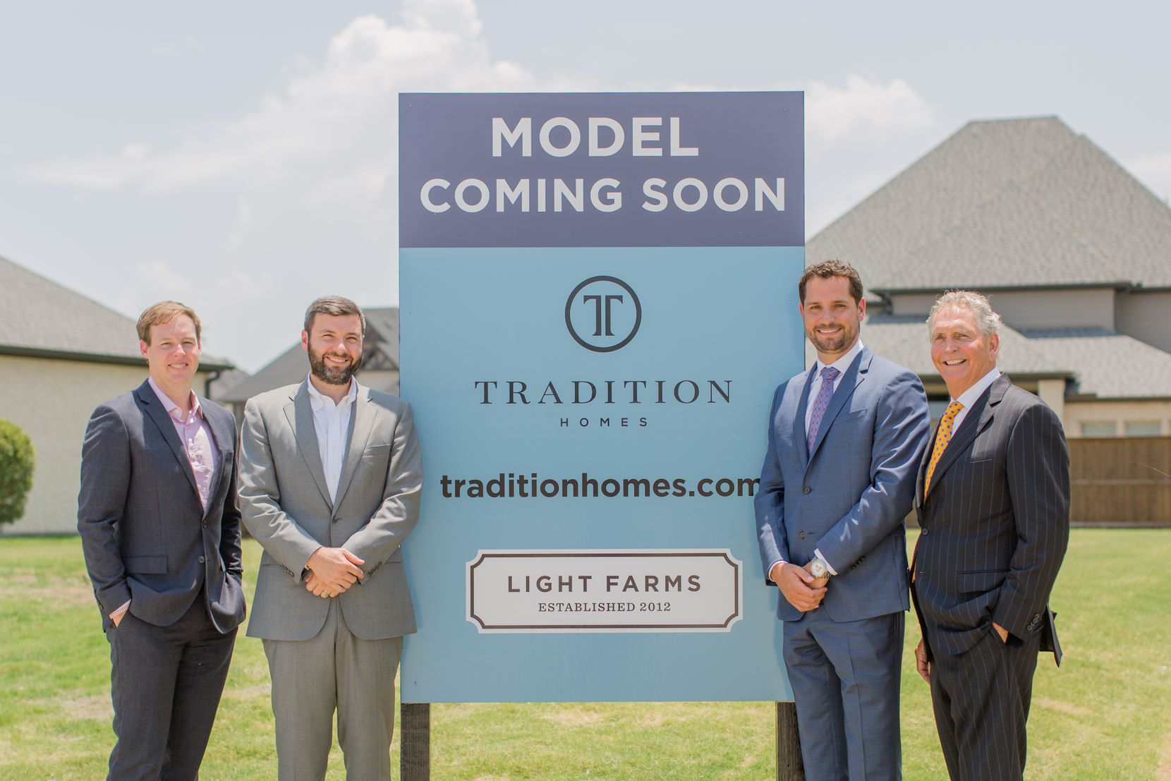 Left to right: Jake Wagner (co-CEO of Republic Property Group), Tony Ruggeri (co-CEO of Republic Property Group), Zach Schneider (president and CEO at Tradition Homes) and Bill Darling (Chairman at Tradition Homes).