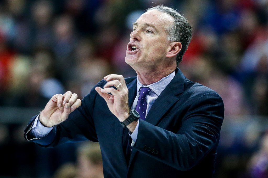 TCU Horned Frogs head coach Jamie Dixon calls a play from during an NCAA basketball game at Schollmaier Arena Fort Worth, Texas on Saturday, March 2, 2019. (Shaban Athuman/The Dallas Morning News)