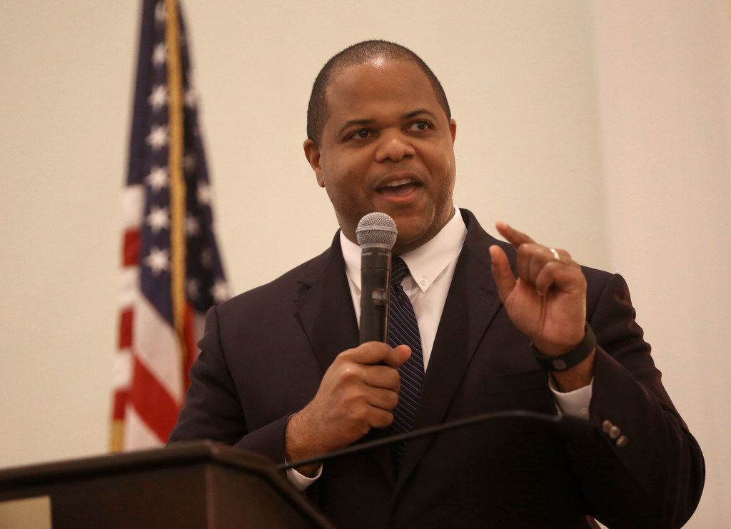 Candidate Eric Johnson speaks during a Dallas mayoral debate at the Belo Mansion in Dallas on Monday, May 13, 2019. Dallas Morning News political reporter Gromer Jeffers, Jr. moderated the event, which was sponsored by the League of Women Voters of Dallas, the Dallas Friday Group and the Public Forum Committee of the Dallas Bar Association. (Rose Baca/The Dallas Morning News)