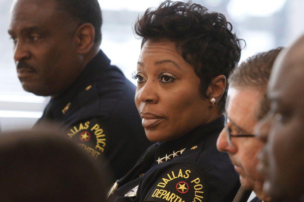 Dallas Police Chief U. Renee Hall talks to The Dallas Morning News Editorial board on May 17, 2019