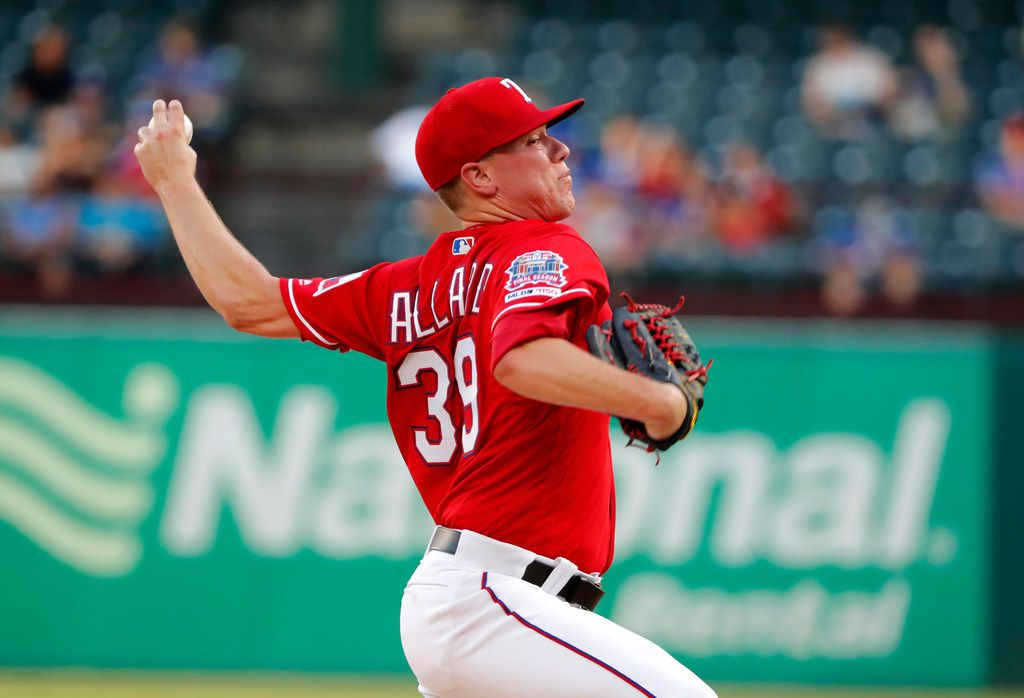 Texas Rangers relief pitcher Kolby Allard throws to the Los Angeles Angels in the first inning of baseball game in Arlington, Texas, Monday, Aug. 19, 2019. (AP Photo/Tony Gutierrez)
