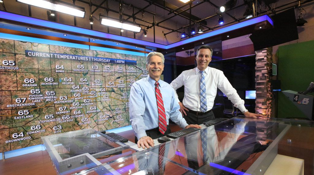 David Finfrock (left) and Rick Mitchell work together on forecasts, graphics and more to give North Texas viewers the complete weather picture.