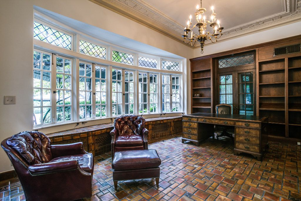 An office/library at 3905 Beverly Drive. The Highland Park home of Sam Wyly is for sale for $12.5 million.
