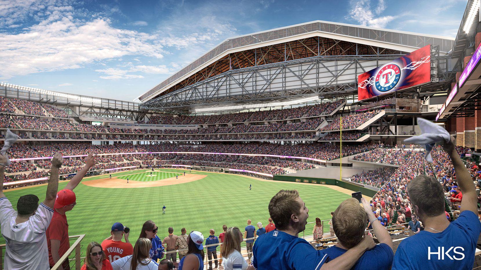 Una ilustración del nuevo estadio Globe Life Field, que será casa de los Rangers a partir del 2020.