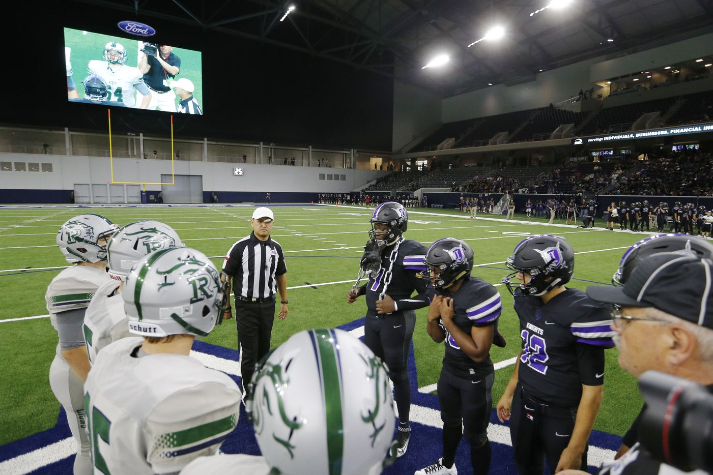 Coin toss at centerfield with Independence and Reedy High School's during the first high school football game at The Star in Frisco on Saturday, August 27, 2016. (Vernon Bryant/The Dallas Morning News)