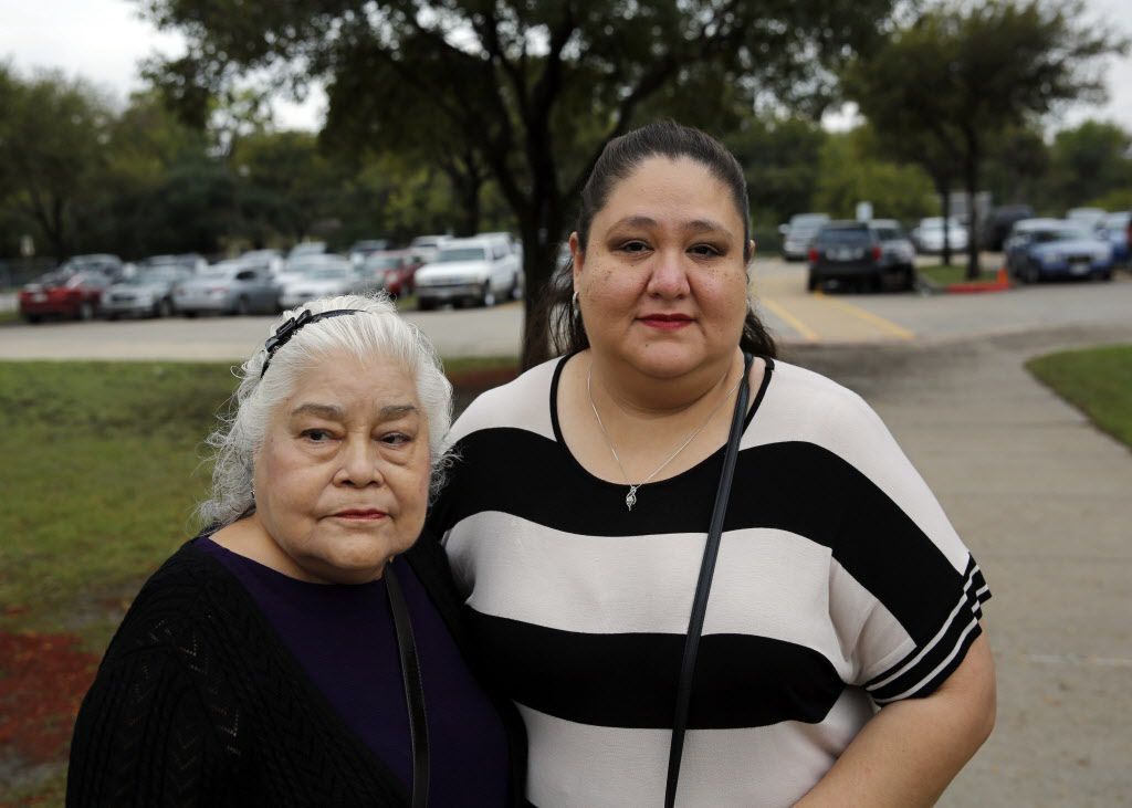 Natalie Tijerina (left) and her granddaughter, Starlet Rodriguez, photographed outside a polling location at Eladio Martinez Learning Center Tuesday, November 8, 2016 in west Dallas. Tijerina, 81, is one of a handful of voters alleging a man signed them up for early voting against their will. When they attempted to vote at their precinct on Tuesday, they were initially denied and told they had mailed in an early voting ballot.
