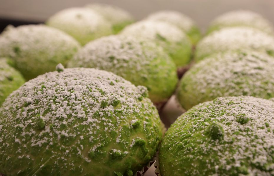 This green pastry at 85°C Bakery Cafe in Frisco gets its color from the matcha mixed in the dough.