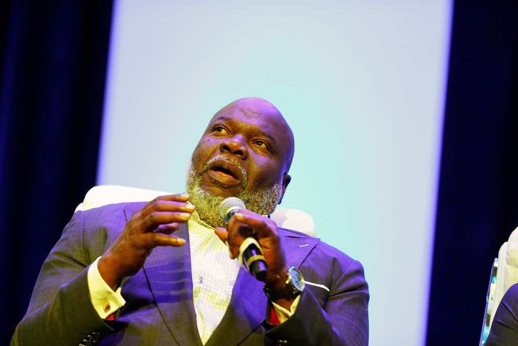Bishop T.D. Jakes speaks during the Blue on the Block community meeting at his church, The Potter's House.