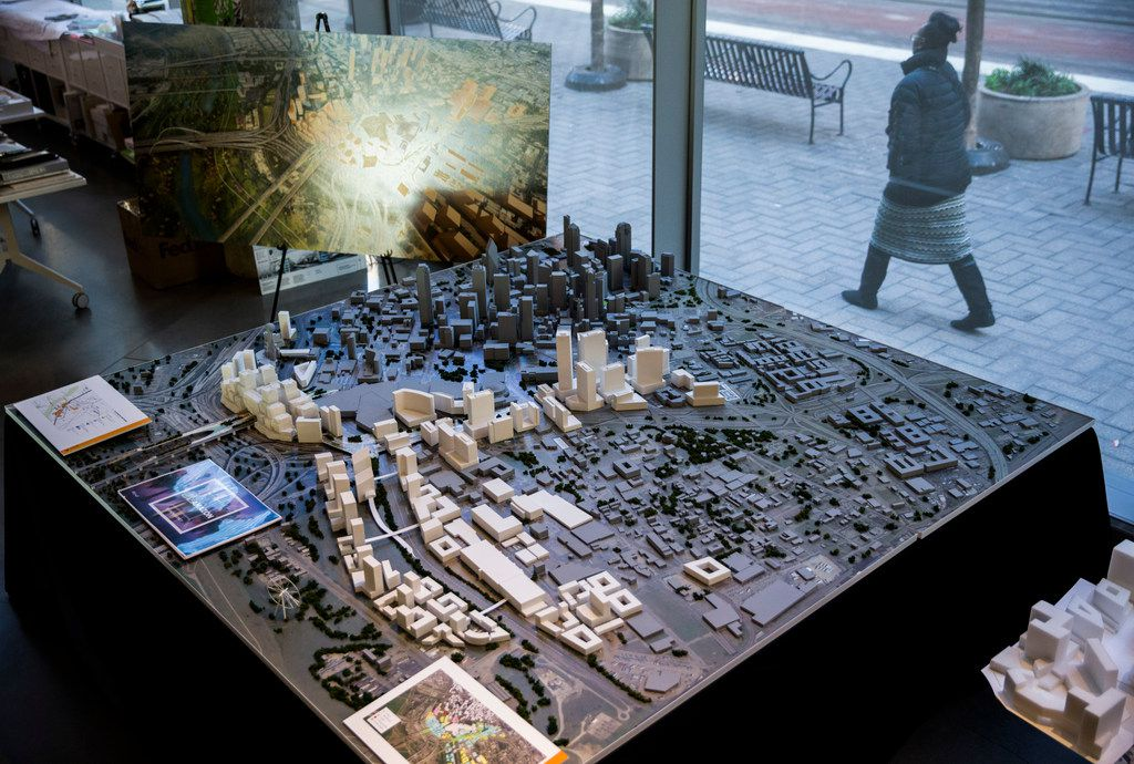 A model of what was offered to Amazon as part of a possible Dallas HQ2 location is displayed during an Urban Land Institute panel discussion on Tuesday, February 12, 2019 at HKS in downtown Dallas. (Ashley Landis/The Dallas Morning News)
