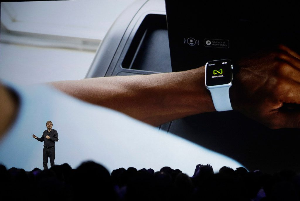 Apple's Kevin Lynch speaks about the Apple Watch announcement of new products at the Apple Worldwide Developers Conference in San Jose, Calif., Monday, June 5, 2017. (AP Photo/Marcio Jose Sanchez)