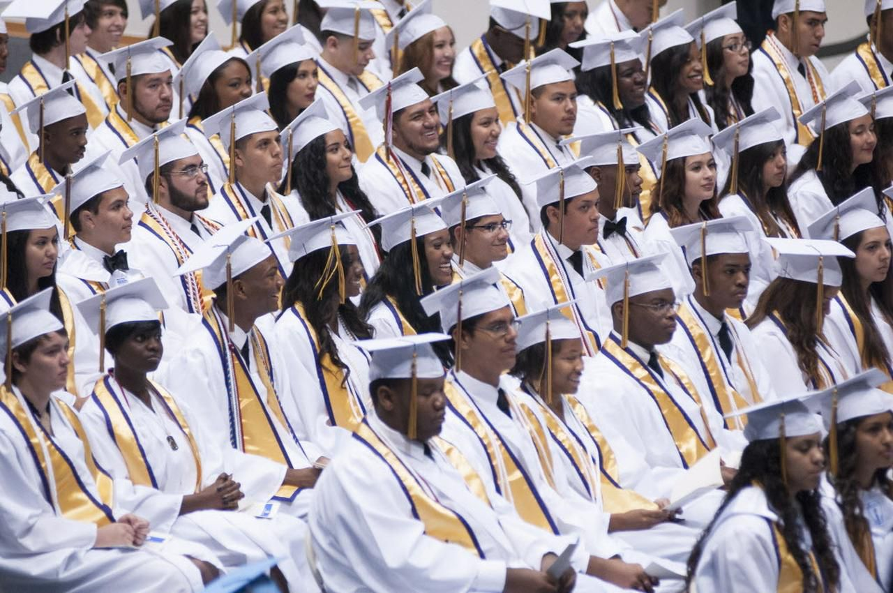 Students from Yvonne A. Ewell Townview Center attend the graduation ceremony in 2014.