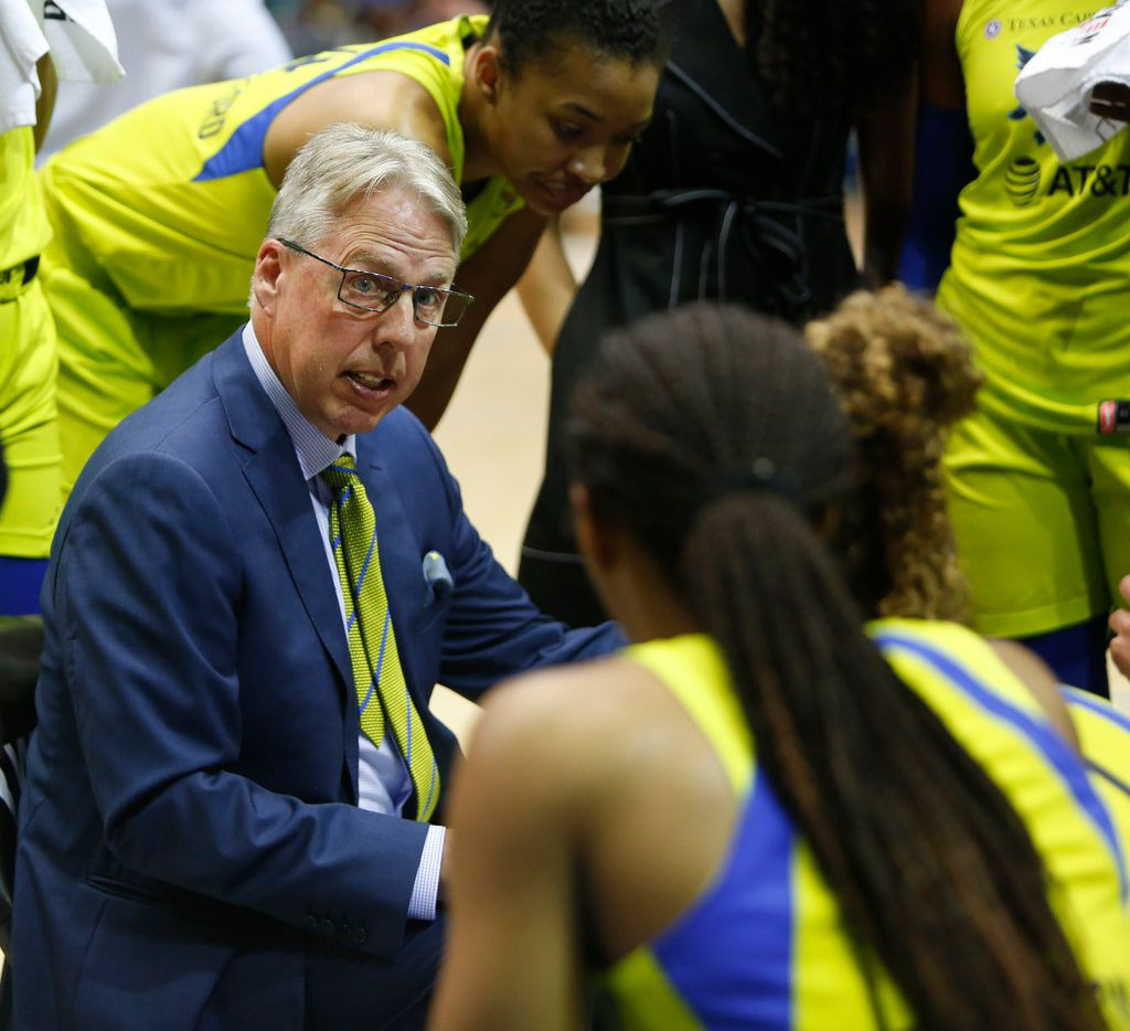 Dallas Wings head coach Brian Agler speaks with his players during a first half timeout against Minnesota Lynx. The Wings hosted the Minnesota Lynx in their WNBA season home opener at UT-Arlington's College Park Center in Arlington on June 1, 2019. (Steve Hamm/ Special Contributor)