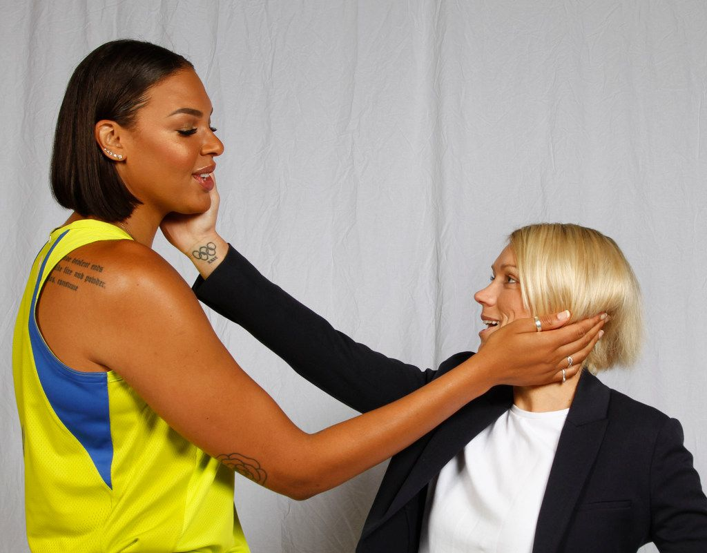 Dallas Wings center Liz Cambage (8) and assistant coach Erin Phillips pose for a photo during the team's Media Day at the College Park Center on the UT Arlington campus Friday, May 4, 2018. The Dallas Wings are part of the Women's National Basketball Association (WNBA), a women's professional basketball league in the United States. (Ron Baselice/The Dallas Morning News)