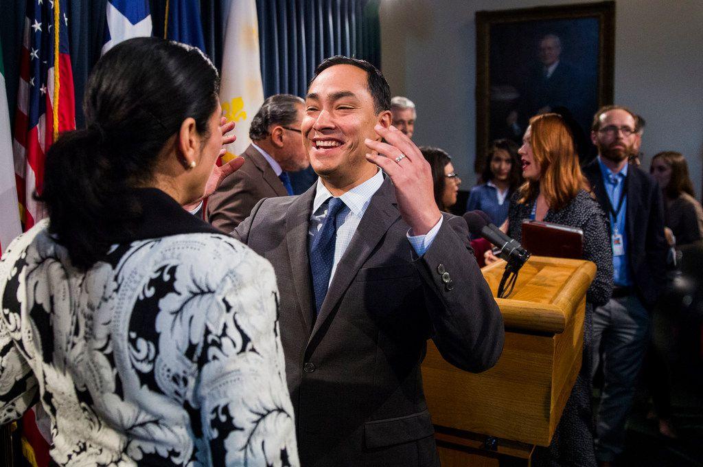 U.S. Congressman Joaquin Castro, center, talks with Texas State Sen. Carol Alvarado after a press conference held by the Texas Senate Democratic Caucus regarding S.R. 535 at the Texas Capitol in Austin, Texas on April 17, 2019. Texas Senate Resolution 535 was passed on April 2.
