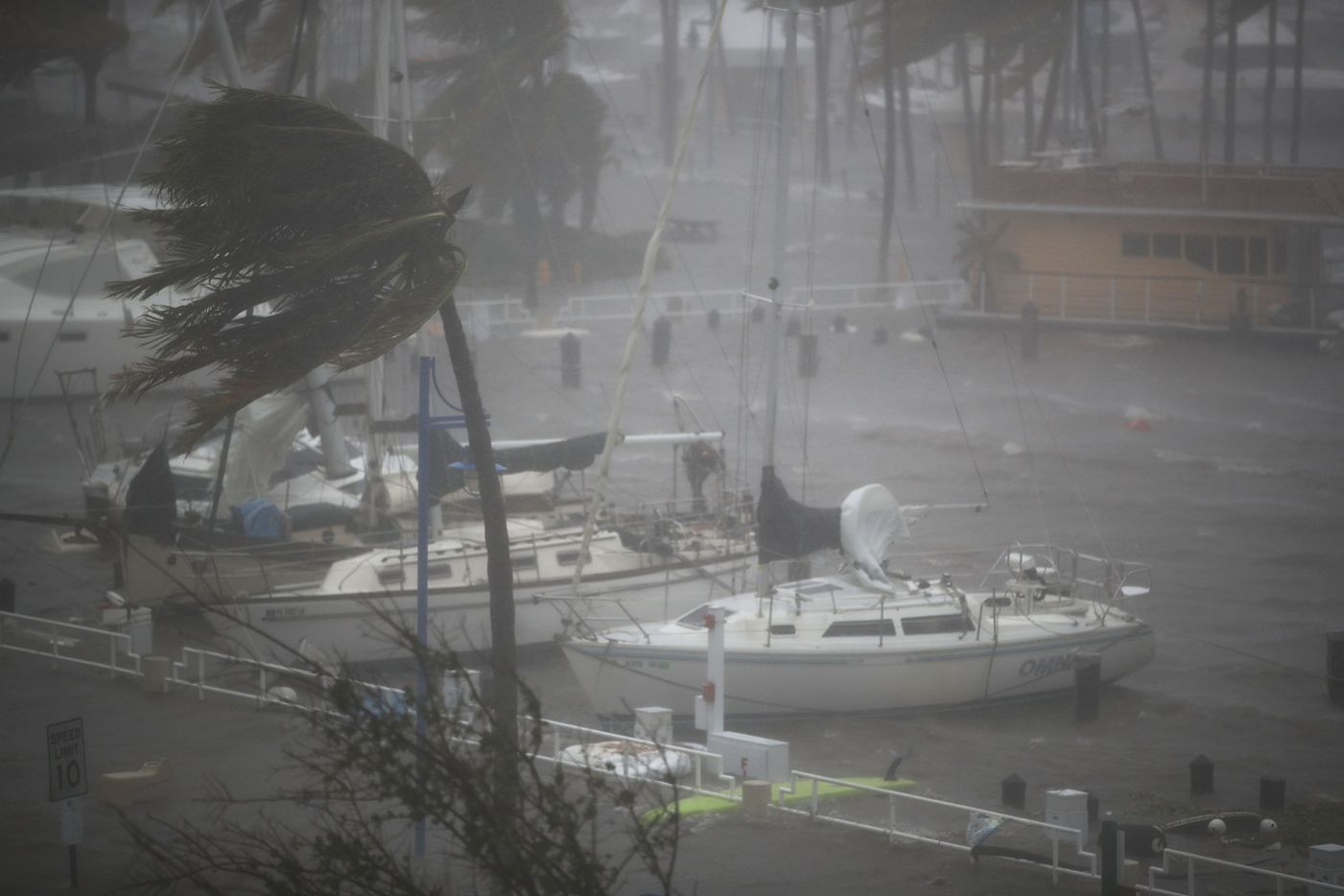 Boats ride out Hurricane Irma in a marina on September 10, 2017 in Miami, Florida. Hurricane Irma made landfall in the Florida Keys as a Category 4 storm on Sunday, lashing the state with 130 mph winds as it moves up the coast.