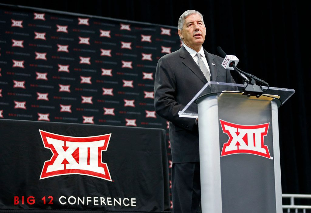 Commissioner Bob Bowlsby speaks during a press conference at Big 12 Media Day at Ford Center at The Star in Frisco, Texas, Monday, July 16, 2018. (Jae S. Lee/The Dallas Morning News)
