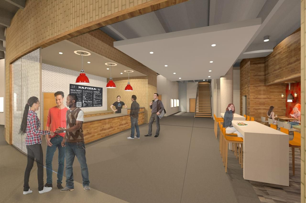 Large and small food and drink stations will be scattered around the seven buildings.
