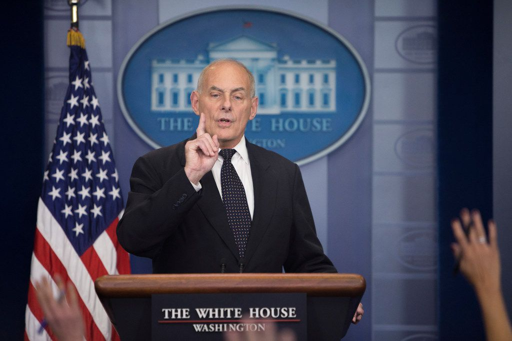 White House Chief of Staff John Kelly delivers remarks during a daily news briefing at the White House in Washington.  (Tom Brenner/The New York Times)