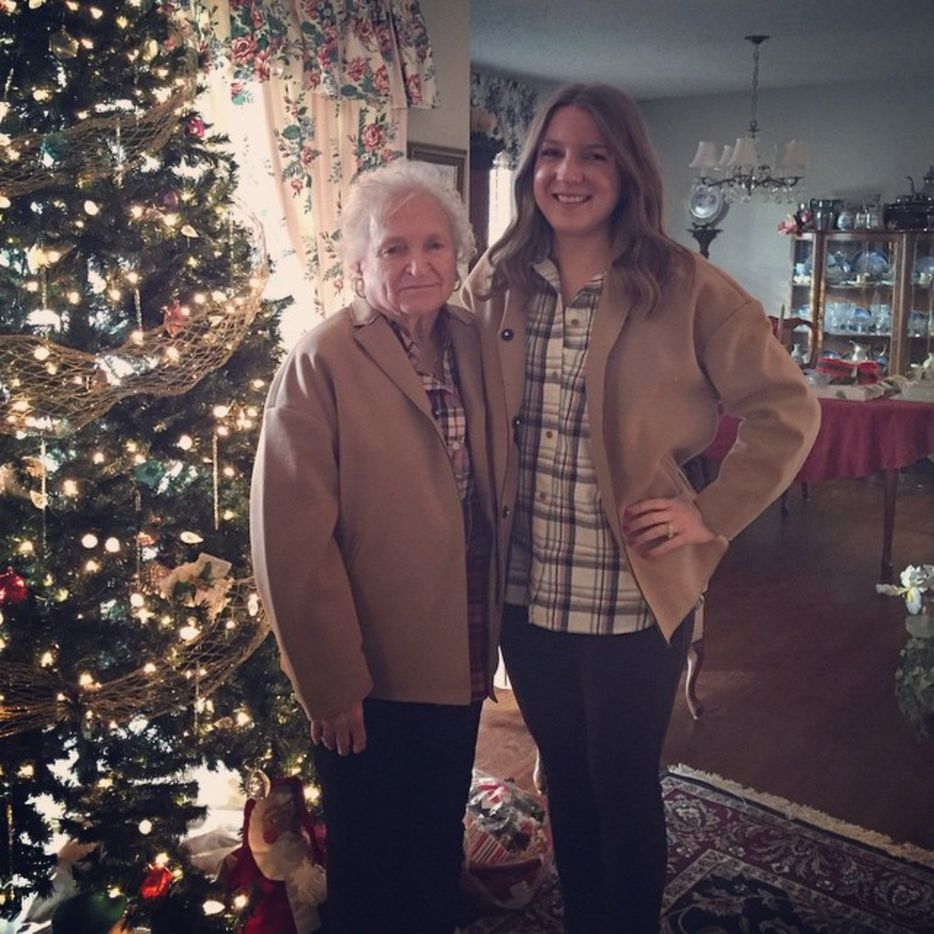Nancy McCall (left), Nanette Light's grandmother, poses with Light in matching jackets in December 2014 at McCall's home in Norman, Okla.