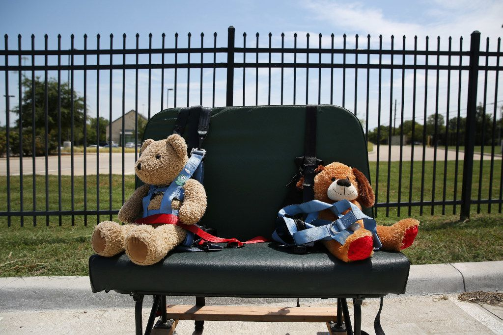 Stuffed animals used to train bus drivers in securing special-needs students sat in a parking lot during training at the Dallas County Schools headquarters in Dallas on Friday.