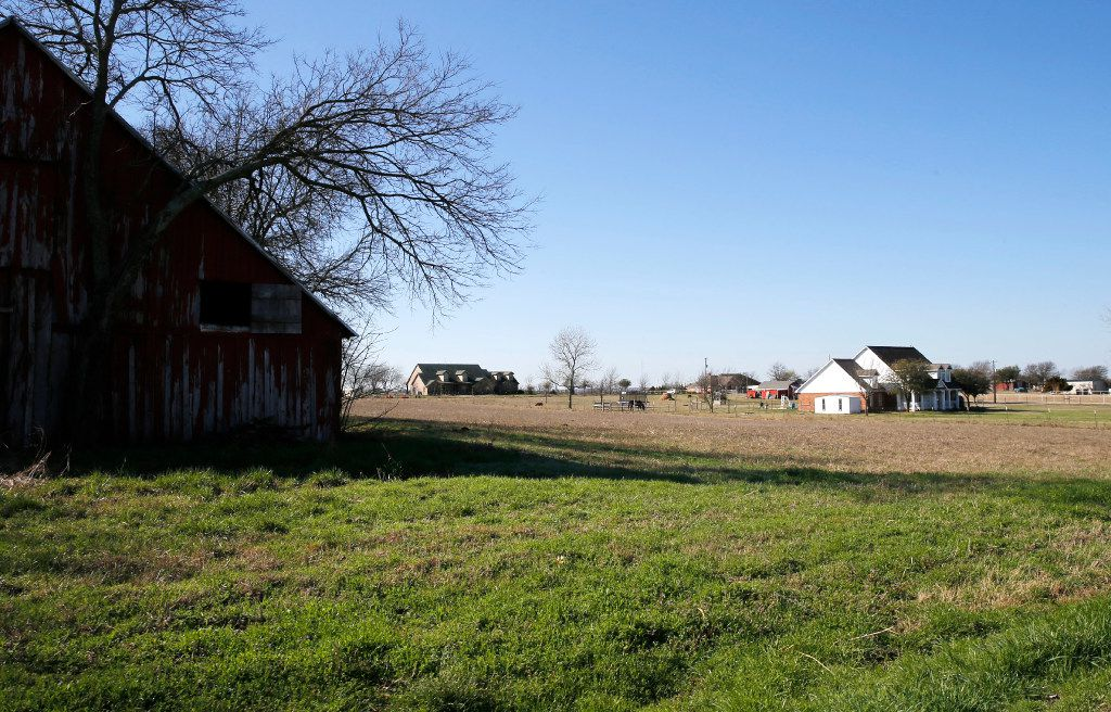 Neighborhood around Stephanie and Matt Weyenberg home that could be impacted if a Highway 380 bypass option is built. (Vernon Bryant/The Dallas Morning News)