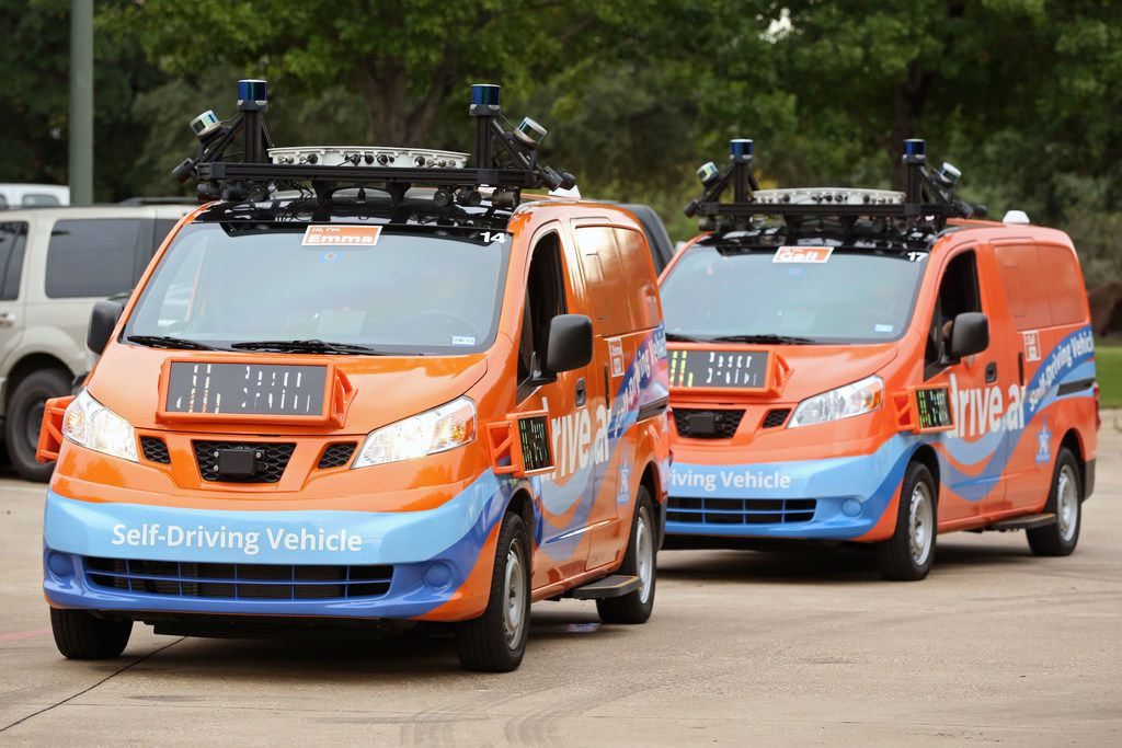 Two Drive.ai self-driving vehicles before the company's media showing in Arlington in October