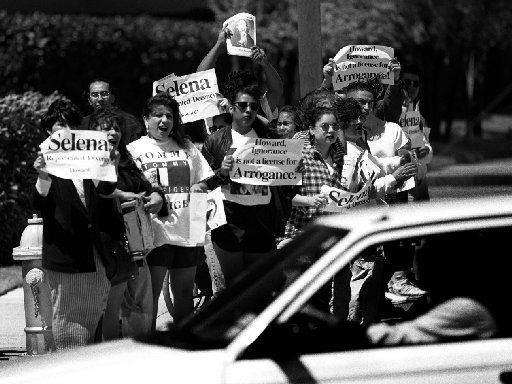 April 7, 1995: About 50 to 60 protesters gather outside KEGL radio in  Las Colinas on April 7, 1995, to protest Howard Stern's show.