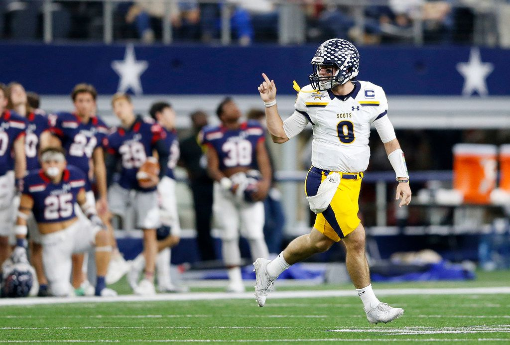 Highland Park's John Stephen Jones (9) celebrates after competing a touchdown pass in a game against Denton Ryan's during the first half of play in a Class 5A Division I state semifinal at AT&T Stadium in Arlington, on Friday, December 15, 2017. (Vernon Bryant/The Dallas Morning News)