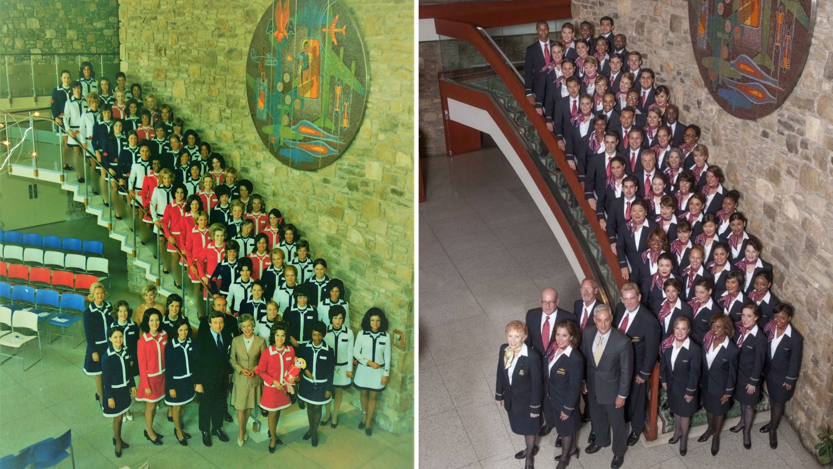 At left, American Airlines flight attendants graduating in 1972 posed for a photo on the staircase at the Stewardess College. At right, an American Airlines graduating class of flight attendants posed for a photo in 2014.
