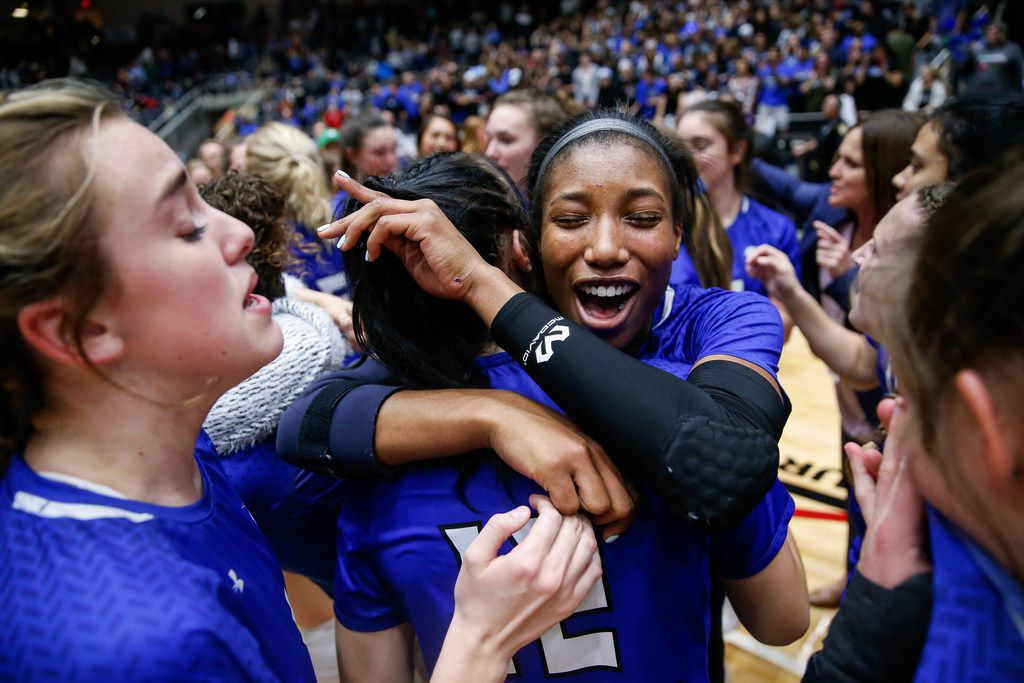 Trophy Club Byron Nelson's Charitie Luper (10) celebrates being selected as the MVP of the Class 6A state championship match after Byron Nelson beat Plano West in five sets on Nov. 23, 2019. (Juan Figueroa/The Dallas Morning News)